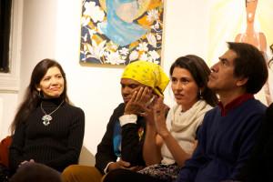 Artists Andrea Arroyo, Leandro Cruz, Lina Puerta, and Felipe Galindo.