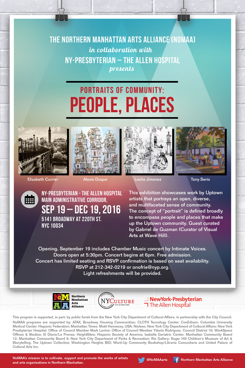 NoMAA exhibition: Portraits of Community – People, Places (flyer)