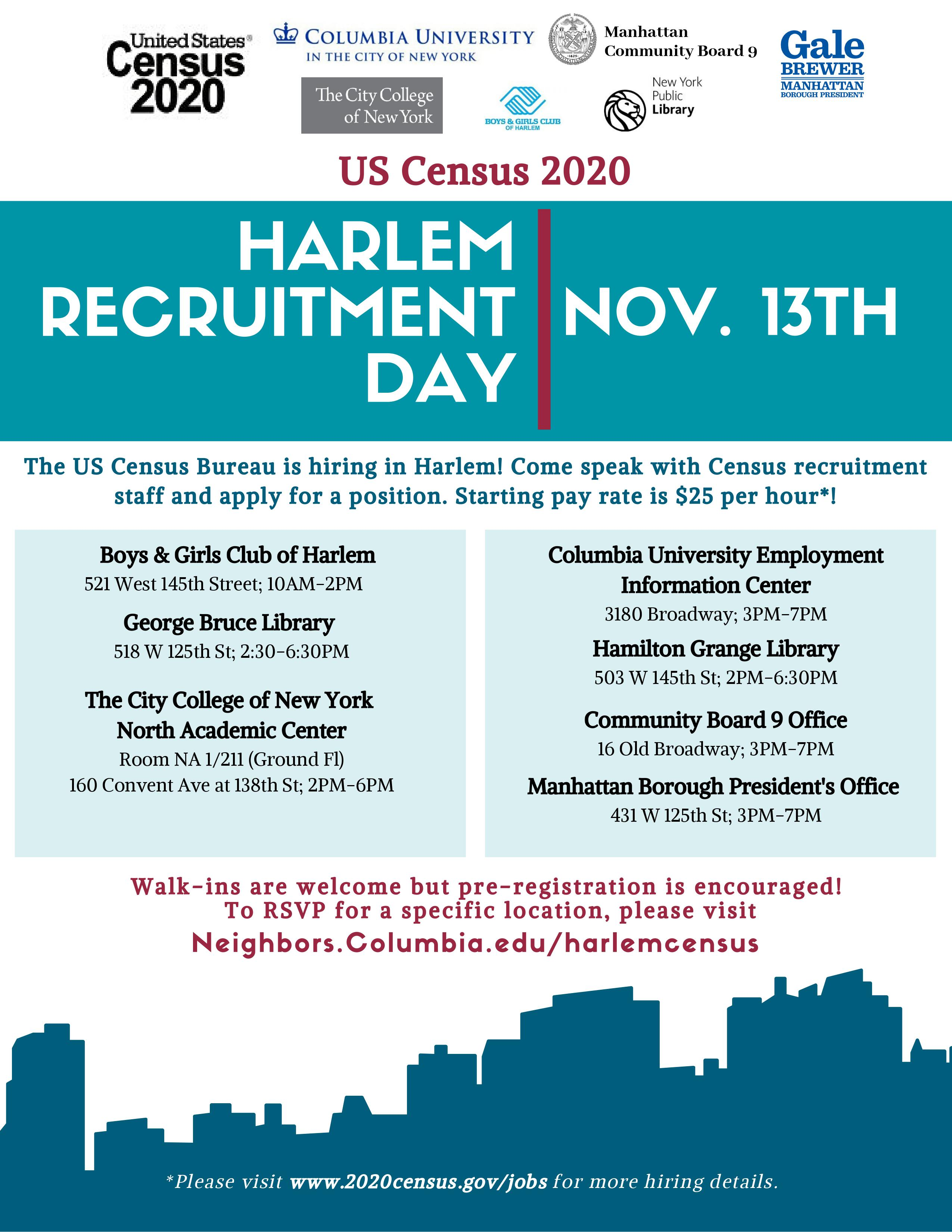 The US Census Bureau is hiring in Upper Manhattan! Come speak with Census recruitment officers and apply for Census taker and administrative positions. Starting pay rate is $25 per hour! RSVP https://neighbors.columbia.edu/events/census-2020-harlem-recruitment-day