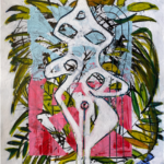 Gal Cohen From Female Figurine Series 2 Acrylic on paper 30x22 inch 2021